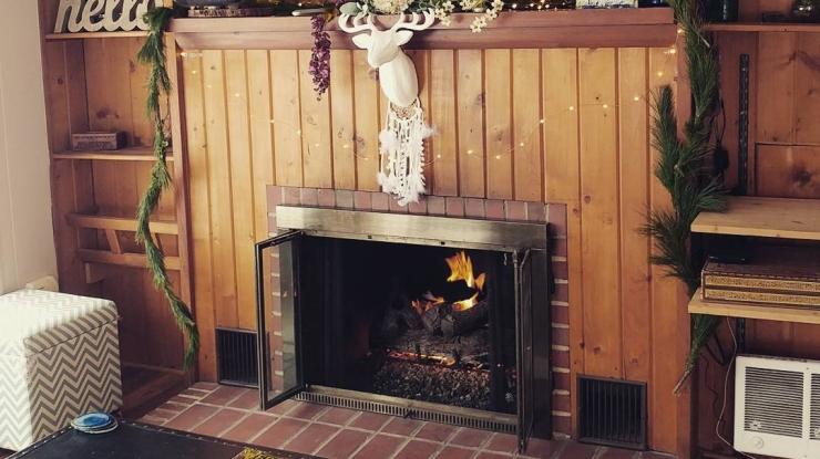 Cozy Blue Cottage Fireplace